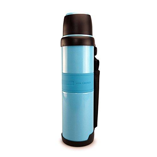 SMARDY Edelstahl Trinkflasche auslaufsicher 1200ml, Isolierflasche doppelwandig blau, mit Ionen Energy für Schule und unterwegs