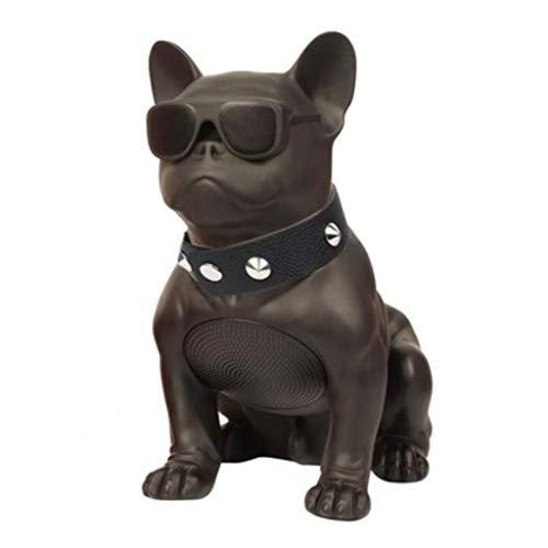 Tragbarer Bluetooth-Lautsprecher, Französische Bulldogge Bluetooth-Lautsprecher Dual-Lautsprecher M10 Dog Bass Lautsprecher, Wohnzimmer, Schlafzimmer, Büro, Party und Reisen (Color : Black)