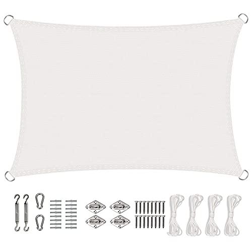 KOUDU Toldo Parasol 3x6m Telas Lona Cubierta Protección Anti-UV 95%, Toldo Vela IKEA Impermeable, para Jardin Terraza Patio Gris, Blanco