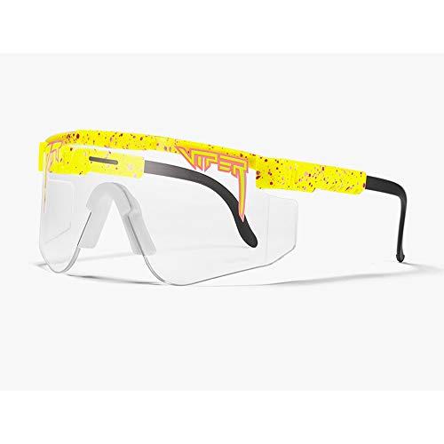 Tletiy Yellow Tr90 Frame Gafas Unisex con Protección UV Outdoor Windproof Ciclismo Gafas Deportivas Polarized Sunglasse UV400 Protection Glasse For Sports Fishing Golf Baseball