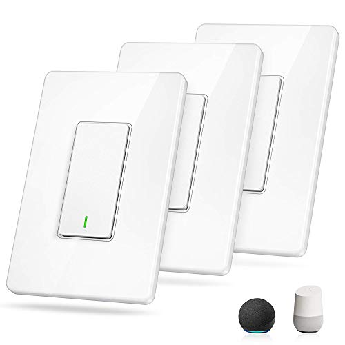 Smart Switch[3 Pack] GRDE WiFi Smart Light Switch Works with Alexa and Google Assistant, Remote Control, Easy In-Wall Installation, Single Pole, Neutral Wire Required, Light Switch with Schedule Timer