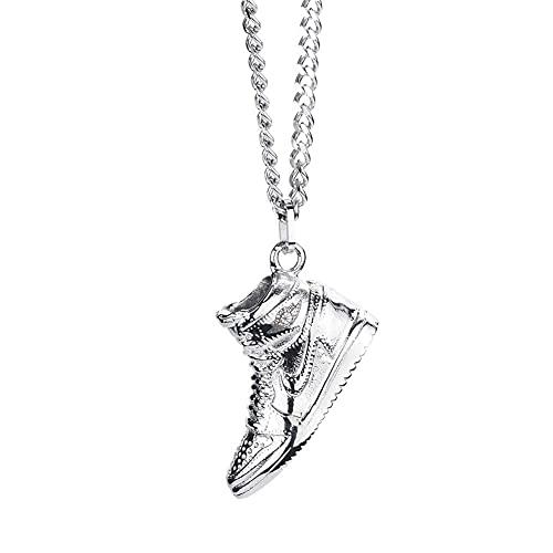 WJLGKSZG Collar De Zapatos De Bolas AJ1, Hombre Personalizado Y Salto De Mujeres Di Versátil Titanio Acero Colgante Joyería Colgante,Plata