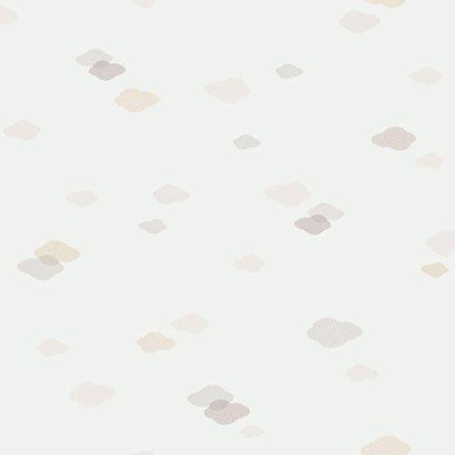 Casadeco 18951143 Papel pintado infantil de nubes color hueso, beige y café con leche