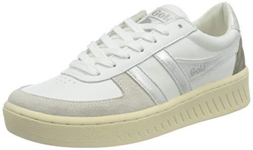 Gola Damen Grandslam Metallic Sneaker, White/Silver, 37 EU