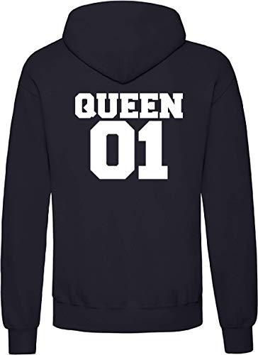 Shirtstown Sweat-shirt à capuche - Look partenaire - Avec inscription « Queen » - Bleu - Large