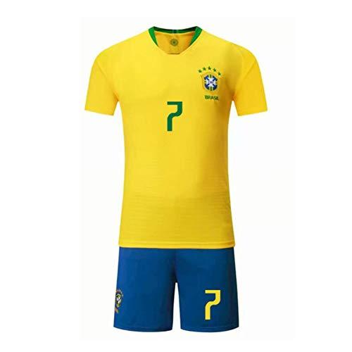 PAOFU-Die Brasilianische Fußballnationalmannschaft Douglas Costa # 12 Herren Fan Fußball Trikot Set,Gelb,M
