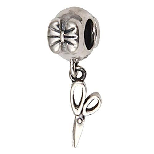 Abalorio de plata de ley 925 con tijera para pulsera Pandora (tijera)