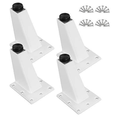 HSEAMALL Pies de aluminio blanco triángulo para muebles, patas de sofá, patas de mesa de metal ajustables para mesa sofá, gabinete de TV, armario de escritorio