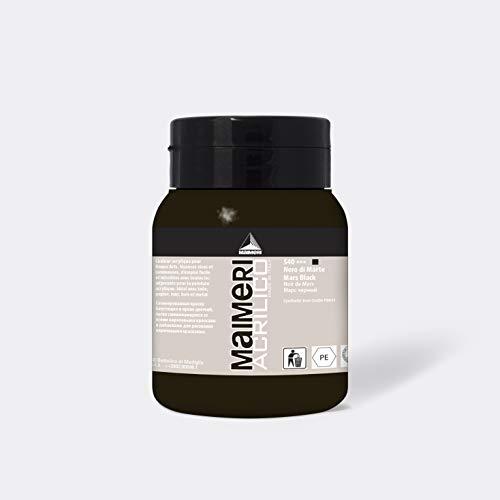 MAIMERI Acrilico 500 ml, colore acrilico fine per artisti, colore nero marso