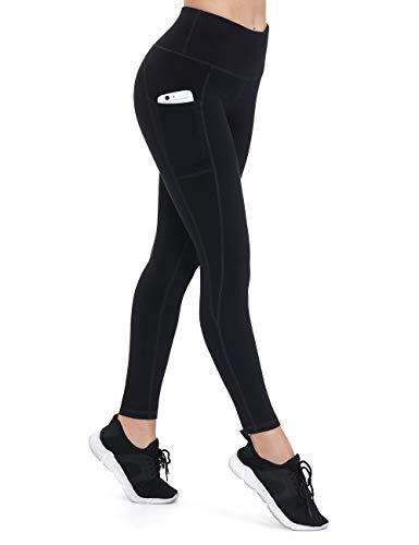 ALONG FIT Leggings Damen mit Taschen, Nicht durchsichtig Sporthose Damen Dehnbar Yogahosen für Damen, Schwarz, L