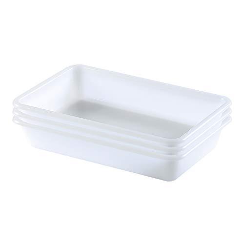 COM-FORT HOUSE Bandejas de Plástico o Barreño Plastico Rectangular Almacenaje, Blanco… (Tamaño 2, 3 unidades)