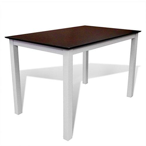 vidaXL Esstisch Esszimmer Tisch Küchentisch Massivholz 110 cm Braun/Weiß