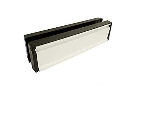 Briefkasten/Briefschlitz für uPVC-Türen - Frontpaneel mit schwarzem Rahmen - 40-80 mm Türtiefe - 25,4 cm breit - Weiß