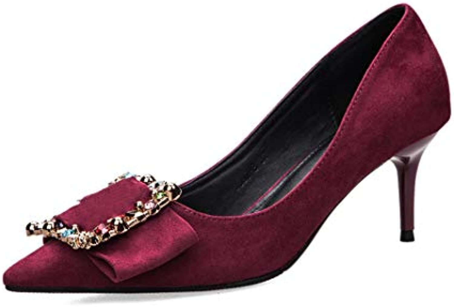 Drew Toby Women Pumps Pointed Toe Suede OL Solid color Fashion High Heels