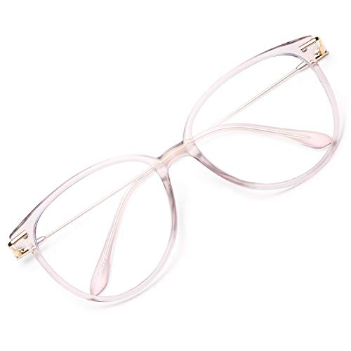 Gaoye Blue Light Blocking Glasses for Women, Fashion Cat Eye Fake Eyeglasses Frames UV Ray Filter Computer Gaming Glasses (Pink Frame/Transparent Lens)