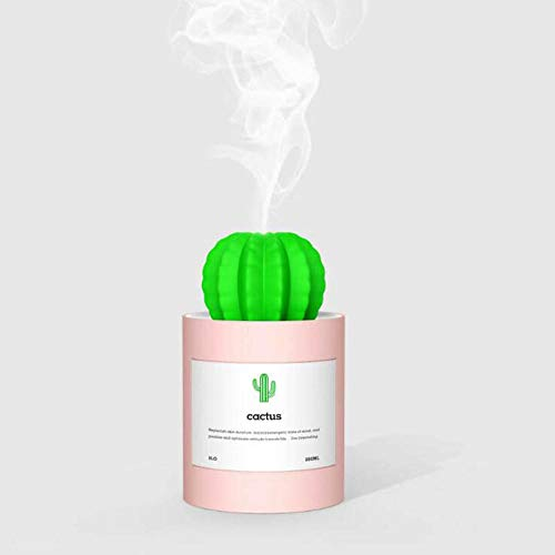 QOOY Mini Humidifier 280Ml Usb Cactus Humidifier Ultrasonic Plant Bottle Air Humidifier Mist Maker Creative Mini Office Desktop Air Purifier-Pink