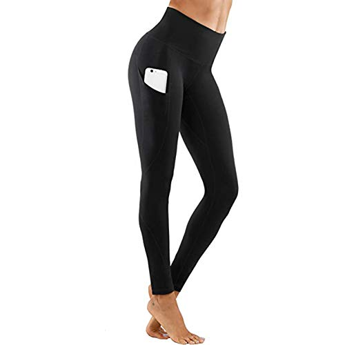 Hhwei Mallas de Deporte Mujer Compression Leggings Cintura Alta Running Fitness Pantalon con Bolsillo,Negro,S