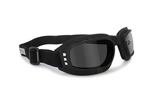 Bertoni - Gafas para moto con lentes antigolpes, antivaho, antiniebla, elásticas, ajustables, AF112, Unisex adulto, Nero Gomma-a, Adult