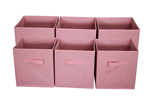 Sodynee Foldable Cloth Storage Cube Basket Bins Organizer Containers Drawers 6 Pack Pink