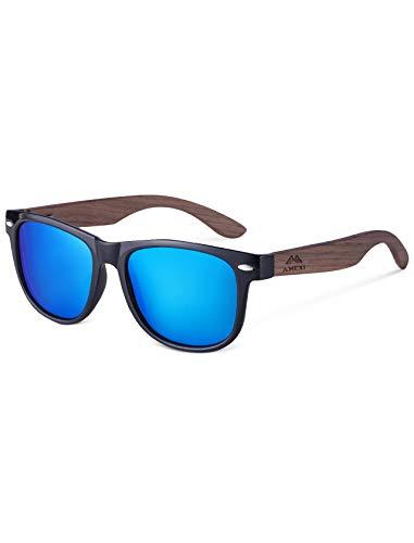 Amexi Herren & Damen Sonnenbrille, hochwertige Holzsonnenbrille UV400 CAT 3 CE (Eisblau)