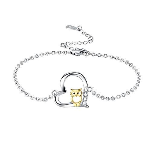 Eule Armband 925 Sterling Silber Cut Eule Verstellbare Armreif Schmuck für Frauen Mama Mädchen mit Geschenkbox(Eule-3)