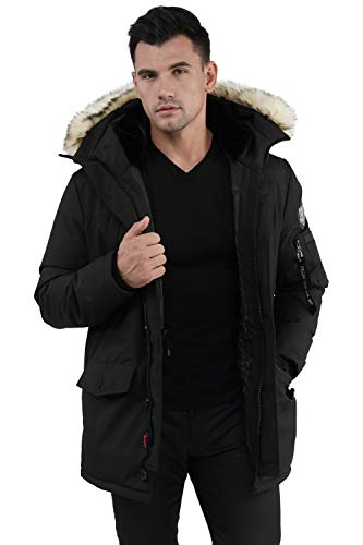 Molemsx Mens Down Coat, Men Down Parka Jacket Winter Coat for Men Winter Warm Parka Puffer Jacket for Cold Weather Down Jacket with Hood Gifts for Men Him Boyfriend Dad Mens Gifts Black X-Large