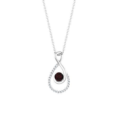 Colgante de granate de 4 mm, colgante de diamante en forma de lágrima de 1/3 quilates, collar solitario de oro, 18K Oro blanco Sin cadena