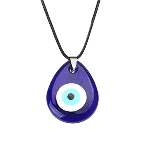 SKYVII Collar de Ojo Azul de la Suerte Collar con Colgante de Mal de Ojo Turco Mal de Ojo para protección y bendición para Hombres y Mujeres