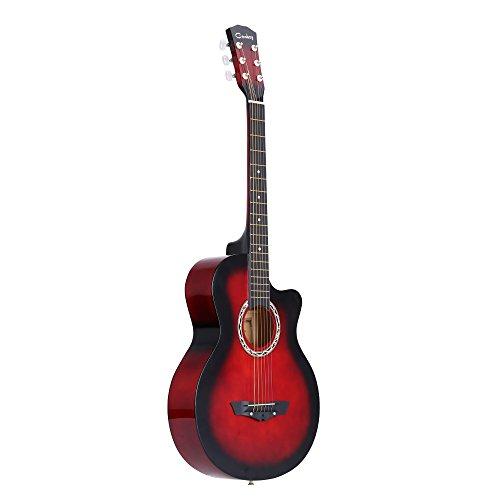 ammoon 38   Guitarra Acústico Folclórica 6 Cuerdas para Principiantes Estudiantes Regalo
