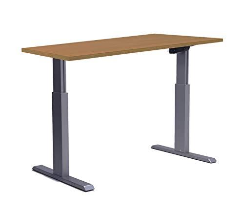Höhenverstellbarer Schreibtisch in Silber Ergonomisch Elektrisch Bürotisch Arbeitstisch Buche Workstation Arbeitszimmer ALUFORCE 140 (80 x 160 cm)