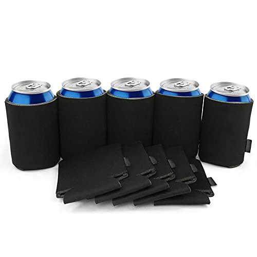 CNXUS Enfriadores de latas de cerveza vacías, bolígrafos de tapa de soda plegables simples, mangas de sublimación de bricolaje personalizadas para bodas, despedidas de soltera (negro-14)