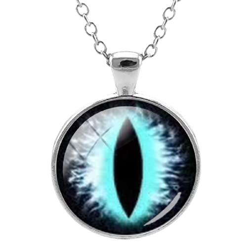 Collar con colgante de ojos malvados y coloridos Anmail Dragon Eyes Glass Gems Link Chain Collar de joyería