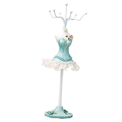 Joyero para mujer, caja de joyería, organizador, regalo, caja de exhibición, 25 cm, elegante colgador de exhibición de joyas, para collares, pulseras, pendientes, anillos, color azul romántico.