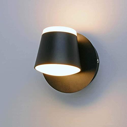 Waqihreu Aplique de Pared LED 8W 360 Grados Iluminación de ángulo Ajustable Lámpara de Noche Luminaria de Pared para Dormitorio Sala de Estar Pasillo Hotel (Blanco cálido 3000K), Negro