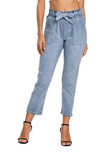 V VOCNI - jeans ajustados para mujer, con bolsillos para cinturón, Azul claro, XL