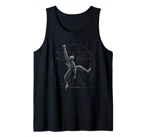Escalador Hombre de Vitruvio Escalador Boulderer Camiseta sin Mangas