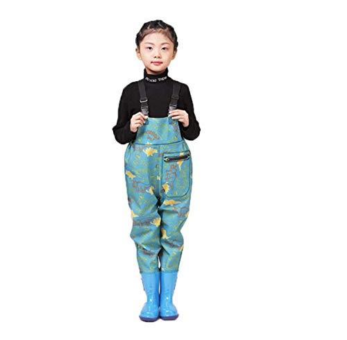 DIVAND Kinder Wathosen mit Stiefeln, Wasserdicht Isolierte Gummi Jagd und Angelwaders für Jungen und Mädchen, rutschfest Bootfoot Kids Watstiefel mit Verstellbarer Schultergurt,Grün,27