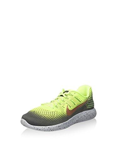 Nike Mens Lunarglide 8 Shield Volt/Mtlc Red Bronze/Dark Grey Running Shoe 11 Men US