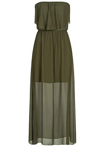 Styleboom Fashion® Damen Kleid Maxi Bandeau Chiffon Dress Military grün, Gr:M
