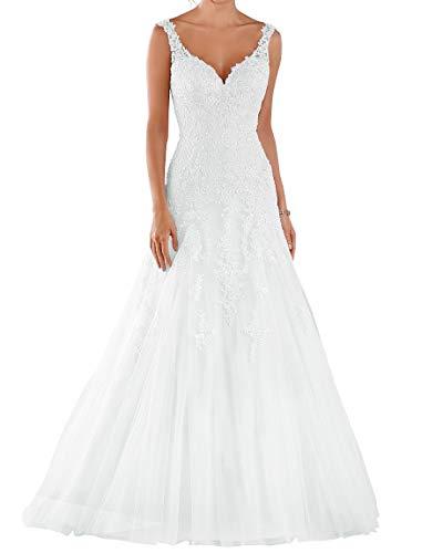 Romantic-Fashion Brautkleid Hochzeitskleid Weiß Modell W105 A-Linie Stickerei Satin Tüll DE Größe 54