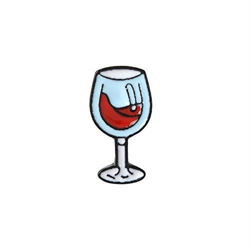 feiren Mini copas de vino y vino con forma de par de alfileres para botellas de vino tinto y broche de esmalte para amantes de los mejores amigos (color metálico: B)