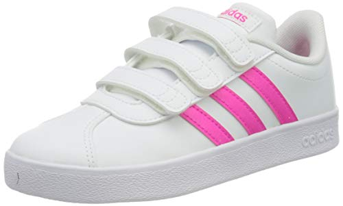 adidas Unisex-Child VL Court 2.0 CMF Sneaker, Footwear White/Shock Pink/Footwear White, 33 EU