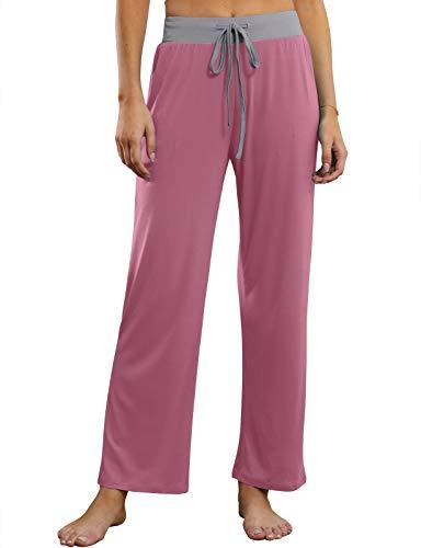 MEROKEETY Women's Comfy Wide Leg Yoga Pants Drawstring Waist Palazzo Lounge Sweatpants, Dustypink, M