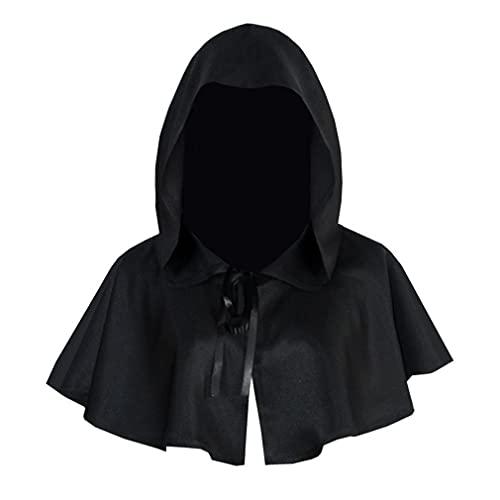 HehiFRlark Halloween Cosplay Cape Cloak con Capucha Navidad Cosplay Masquerade Ball Negro