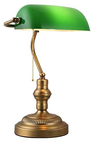 Schreibtischlampe Retro Bankerlampe grün, Vintage Tischlampe mit grün Glasschirm und Zugschalter, Antik Nostalgie Bürolampe mit Messingbasis, E27 Innen Nachttischlampe Wohnzimmerlampe Leselampe L27CM