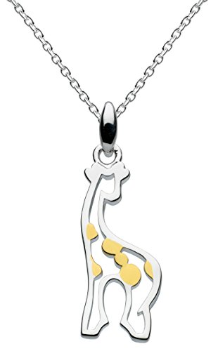 Dew Sterling Silver and Gold Plate Stand Tall Giraffe Necklace of Length 45.7 cm