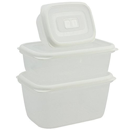 COM-FOUR® 3 pots de rangement Ensemble de en plastique, carré avec couvercle, en 3 tailles différentes pour le camping ou le pique-nique - pour les fruits, les légumes (03 pièces - blanc)