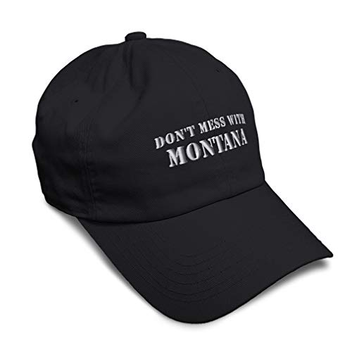 Speedy Pros Soft Baseball Cap Don't Mess with Montana Embroidery Twill Cotton Dad Hats for Men & Women Buckle Closure Black Design Only