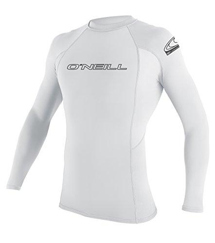 ONEILL WETSUITS Camiseta de Surf para Hombre Basic MusicSkins L/S Crew Rash, Hombre, Basic Skins L/S Crew, Blanco, Medium