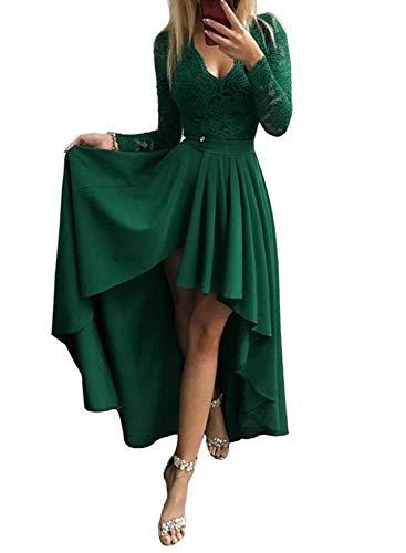 CORAFRITZ Sexy Damen-Kleid, einfarbig, Spitze, V-Ausschnitt, lange Ärmel, rückenfrei, Reißverschluss, unregelmäßiger Saum, Abendkleid, Partykleid Gr. Medium, grün